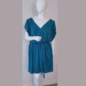 Ava & Viv Plus Size 3X Teal Solid Wrap Dress 💛